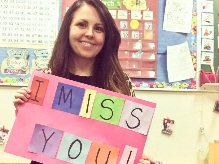 Cassandra Mervyn took a picture from her C.M. Finch kindergarten classroom letting students know she missed them as she prepared her online teaching package for the rest of the school year.