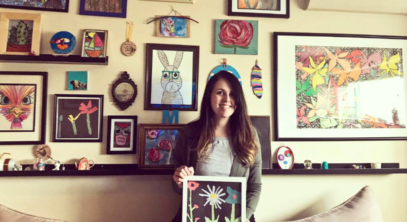 Cassandra Mervyn with her ripped art project that she'll be leading kids through online on April 24, 2020. Mervyn has been doing her part to bring joy and hope to people's lives through arts and crafts.