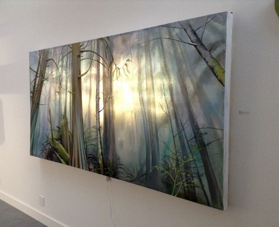 A painting of trees with light shining through
