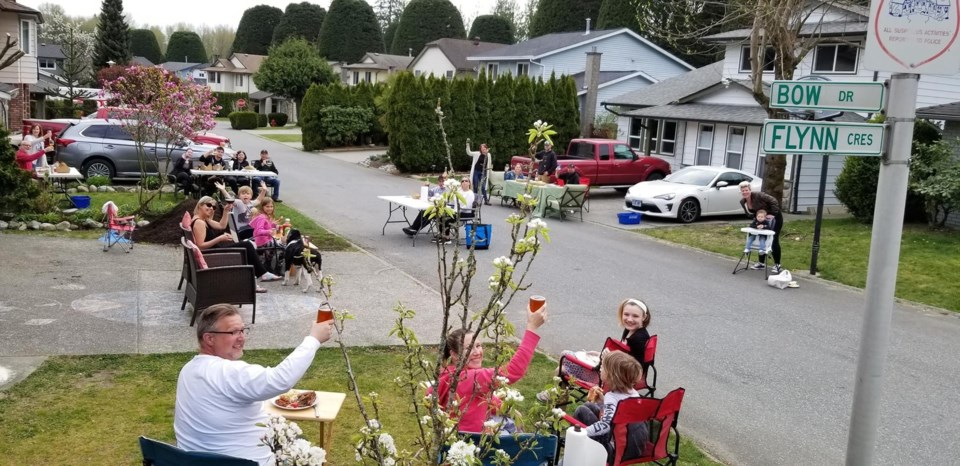 Coquitlam neighbours eat dinner they ordered from a Port Moody