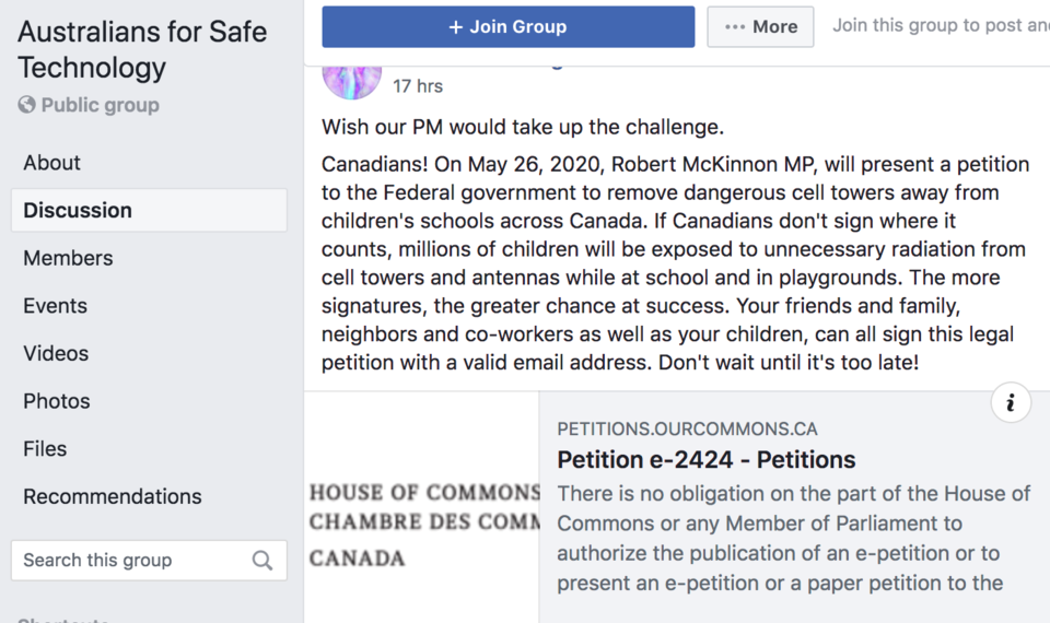 The Australians for Safe Technology Facebook group is one of several places where petition e-2424 ha