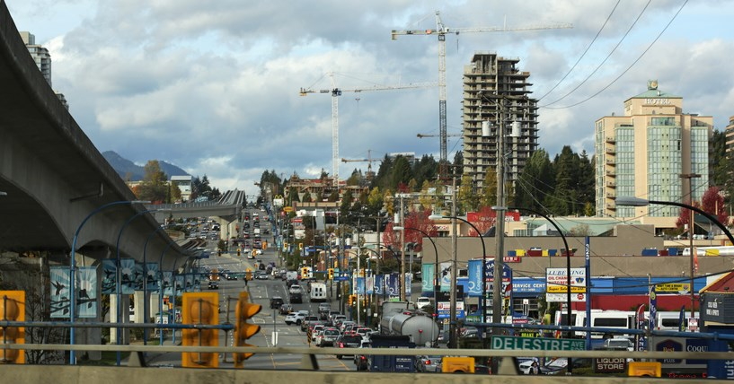 Construction on the Coquitlam side of North Road