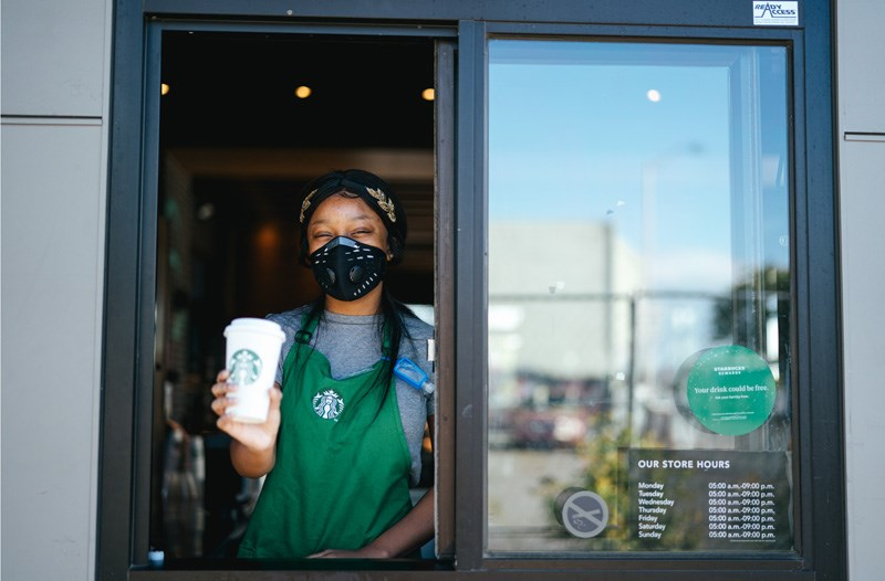 Starbucks has mostly been serving customers via drive-thru