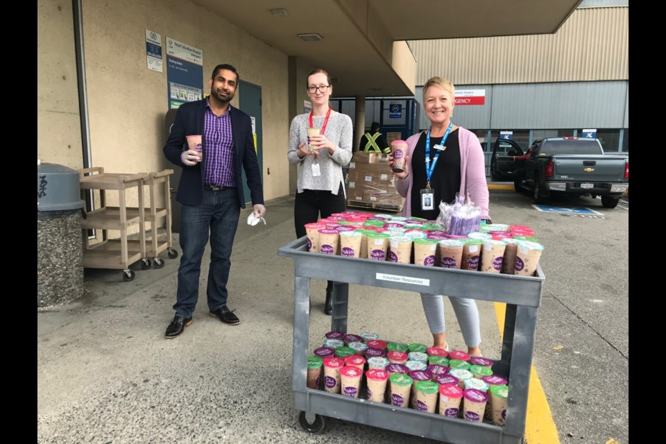In recognition of National Bubble Tea Day on April 30, Chatime Canada teamed up with local hospital foundations to support the nurses and doctors working that week. It donated more than 400 bubble teas, worth $2,500, to staff at several Lower Mainland Hospitals, including Royal Columbian Hospital.
