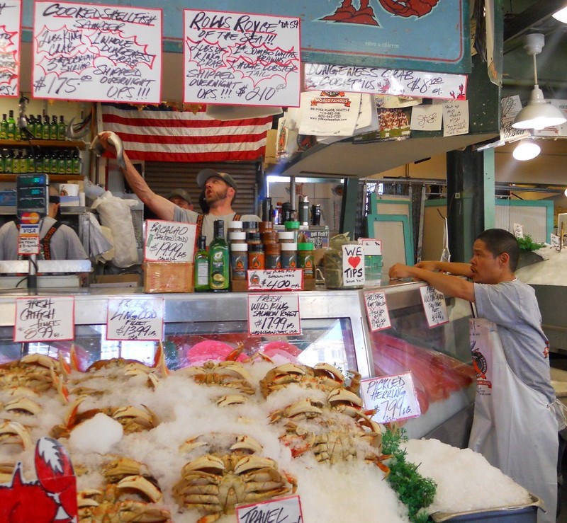 atching 'flying fish' is part of the fun for many at Seattle's Pike Place Market.