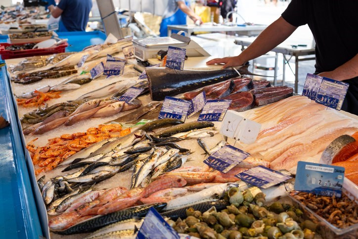 Fish being sold at a farmers' market in France.