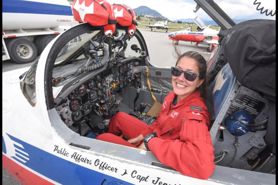 Capt. Jennifer Casey, the Snowbirds' public affairs officer, was killed in the May 17, 2020, crash of a squadron jet in Kamloops. This photo of her was taken in the Okanagan during a July 2019 visit by the team.