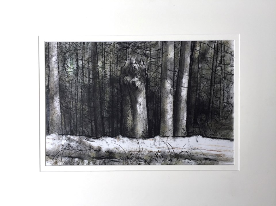 A pastel sketch of the forest