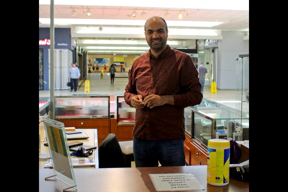 Mustapha Elharda, owner of Leather Shop, Impact, and the phone kiosk at Totem Mall, May 20, 2020.