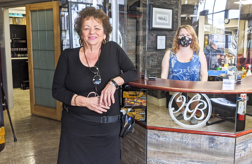 Lorraine Isenbecker, left, and Leah Champion of The Hair Bin are excited to welcome customers back, beginning Monday, May 25.