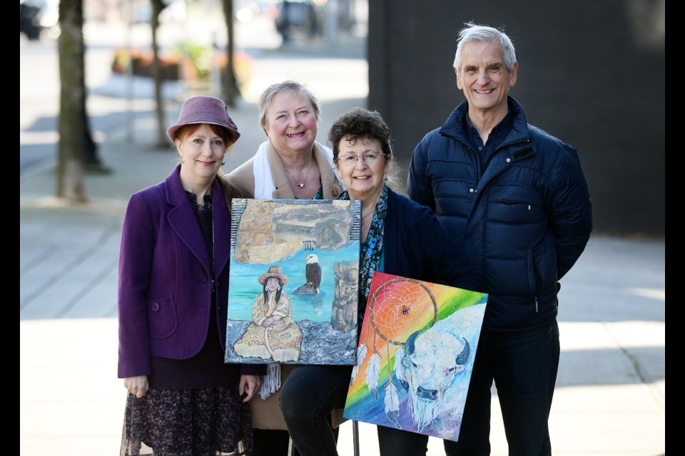 Janet Kvammen, Julia Schoennagel, Lavana La Brey and Mike Geekie posed for this photo outside the New West Artists Gallery on 12th when it opened in 2018. Kvammen and La Brey are among the 10 artists to receive grants from the Arts Council of New Westminster's Seniors Expressions Through the Arts program.
