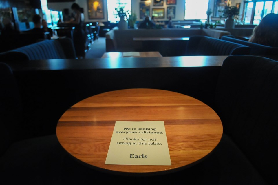 Physical distancing at a restaurant means staggering seating and dropping maximum capacities to keep