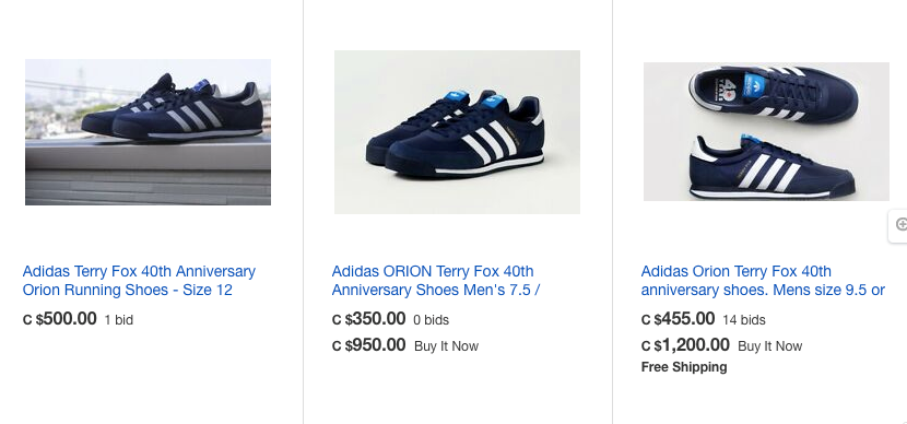 A screen grab of some of the prices that the replica runners Terry Fox ran in 40 years ago are going for on eBay.