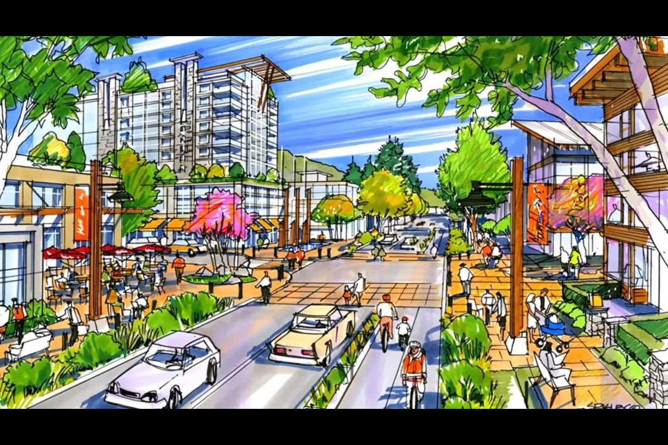 This concept drawing of the future 'high street' in Lynn Valley town centre shows the major shopping and dining district on Valley Centre Road. Planners should focus on pedestrians and cyclists when planning these town centres, writes columnist Heather Drugge. image District of North Vancouver