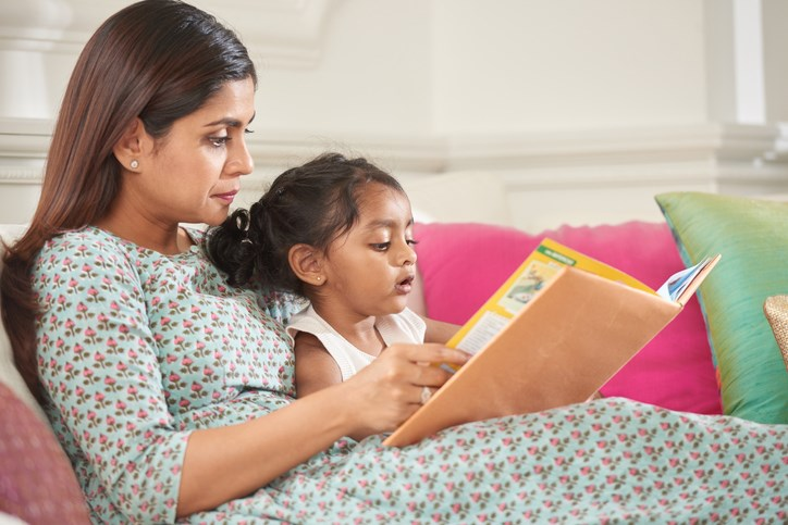 parent, reading, child, preschooler, stock photo