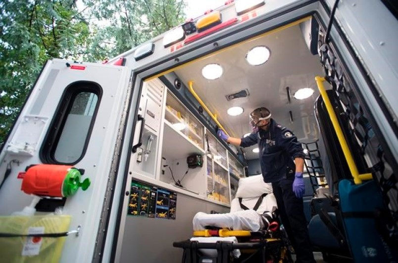 B.C. Ambulance paramedic Jeff Booton cleans his ambulance at station 233 in Lions Bay, B.C. Wednesday, April 22, 2020. Booton was among the people who cared for a COVID-19 patient.