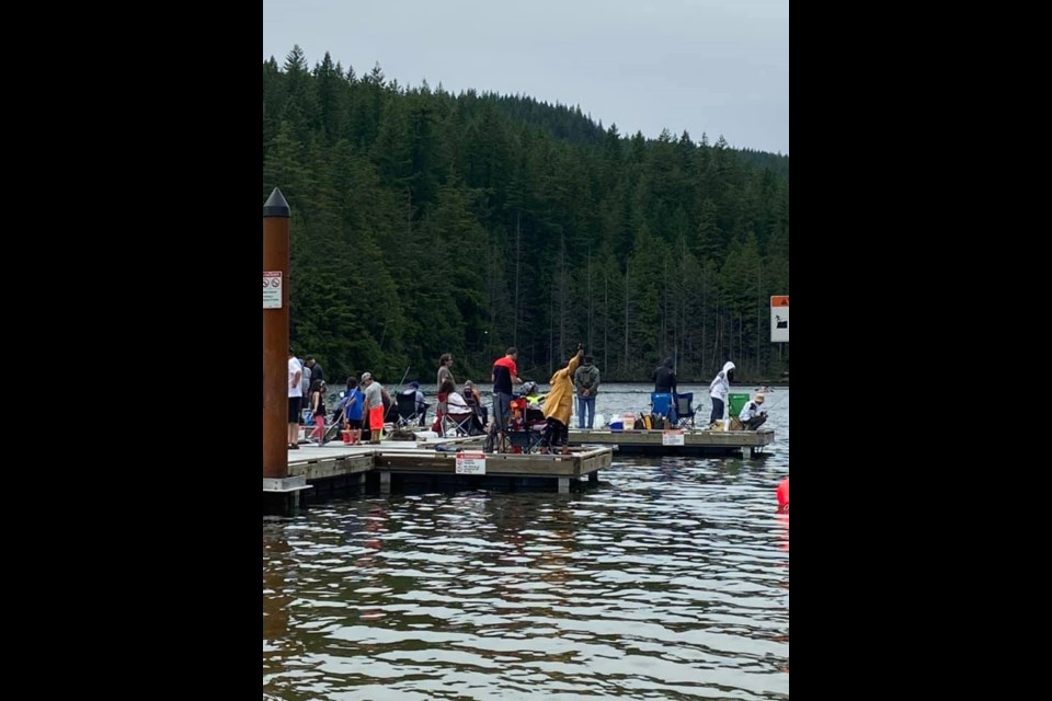 This photo taken at Buntzen Lake recently shows a big crowd on the pier. Some consider this a social distancing concern and are worried the park will be shut again. But a BC Hydro spokesperson said the majority of people are obeying the new COVID-19 restrictions.
