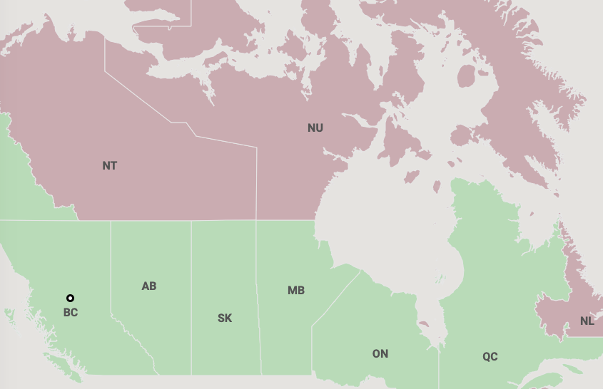 Interactive map of where British Columbians can travel this summer.