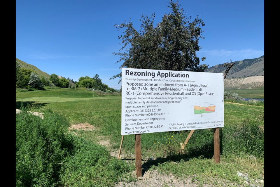 The 30-hecate (75-acre) Pineridge Golf Course property, located at 4725 East Trans Canada Hwy. between Dallas and Valleyview, is zoned agricultural. The rezoning application calls for multi-family-medium residential, comprehensive residential and open space.
