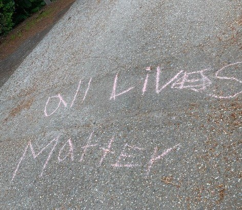 """Ayako Gallagher and her husband spotted """"all lives matter"""" written in chalk at Porteau Cove Provincial Park during a recent camping trip."""