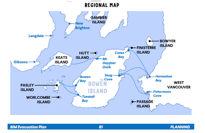 A map of southern Howe Sound with potential drop-off points for rescue vessels