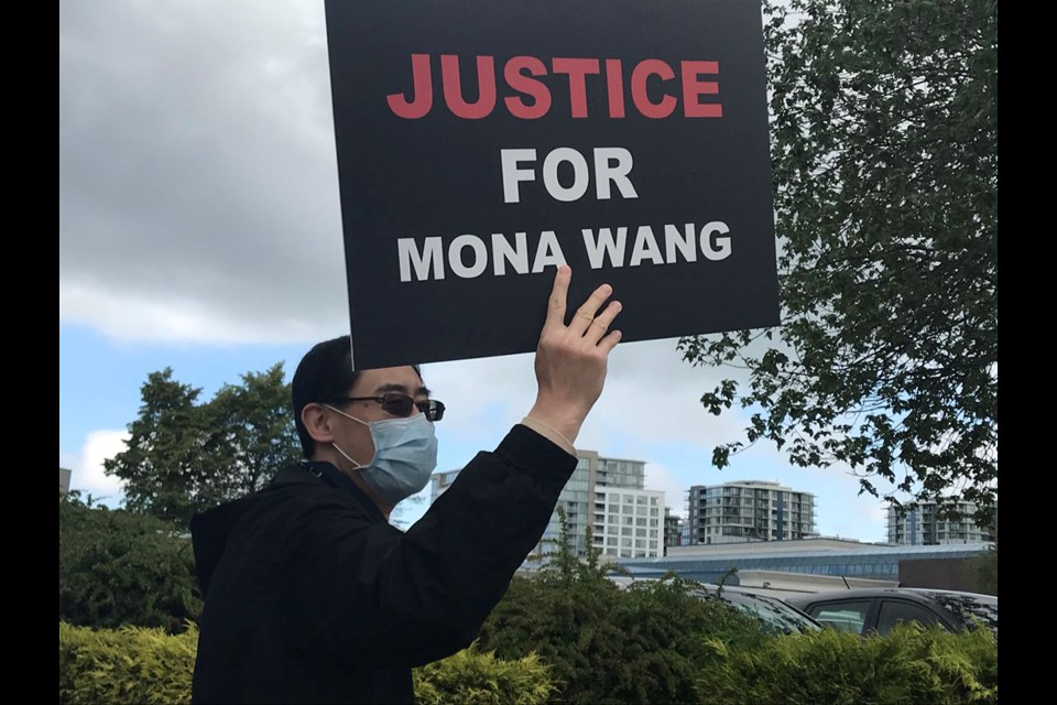 Richmond residents held a rally Saturday to show support for Mona Wang, a UBC nursing student who was dragged and stepped on by an RCMP officer during a wellness check, and to protest police brutality.