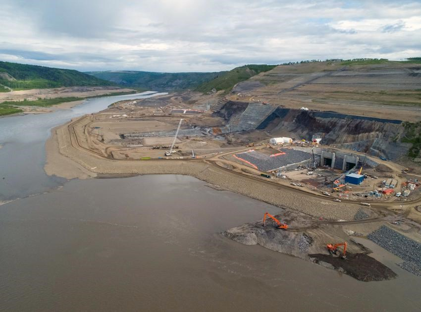 In-river construction begins at the Site C dam site, to prepare for river diversion in the fall, June 2020.
