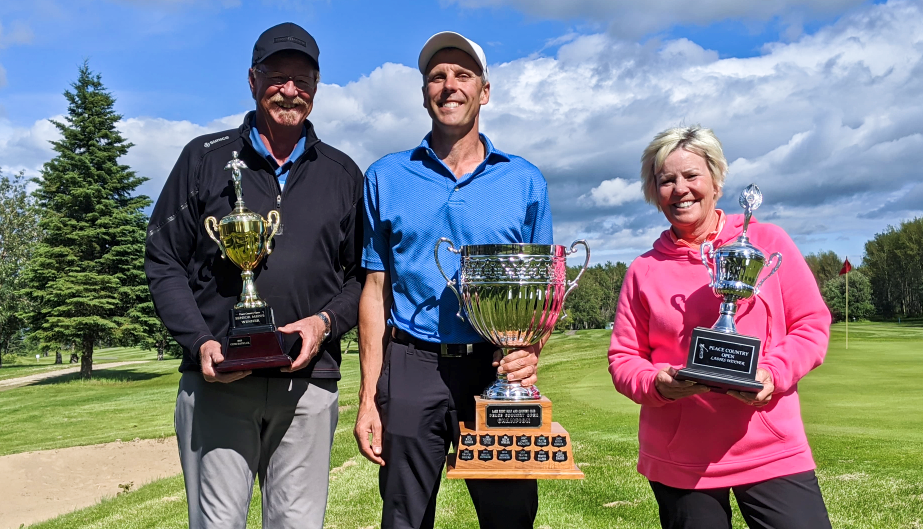 From left: Len Holland (seniors), Travis Eggers (mens), Brenda Sandboe (ladies) won their respective championships at the 2020 Peace Country Open at Lake Point on July 12, 2020.