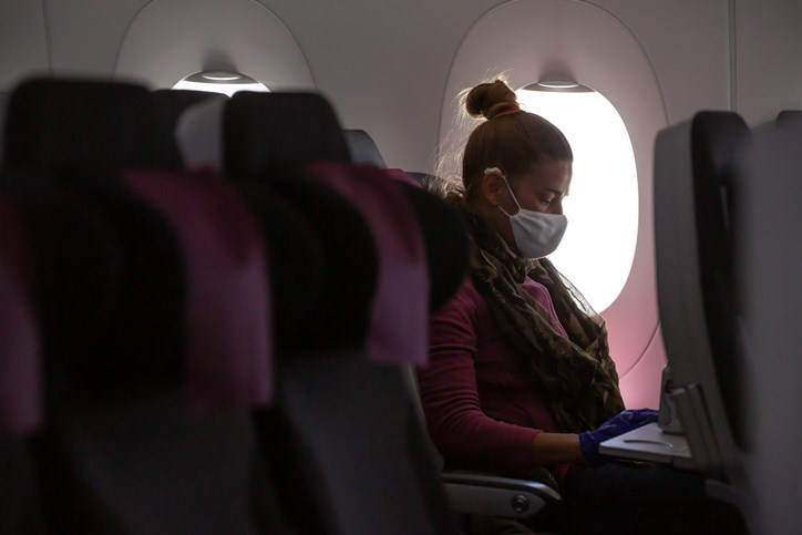 mask on plane