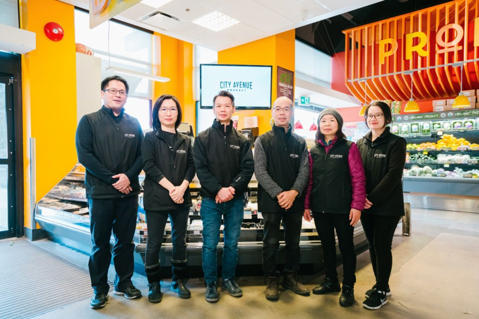 From left to right: Eric Siu, Mandy Fung, Gary Joe, Glen Joe, Cindy Joe, Fei Lin of City Avenue Market.