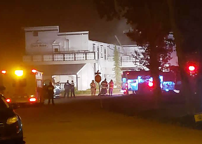 Fire department on scene at the Hart Hotel Saturday night.