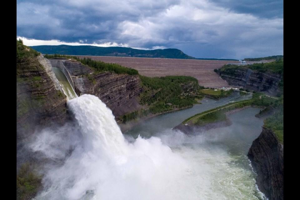 Spilling at the W.A.C. Bennett Dam near Hudson's Hudson's Hope in 2020.