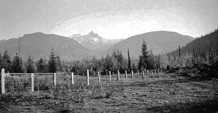 1942: Garibaldi Mountain from Brackendale.