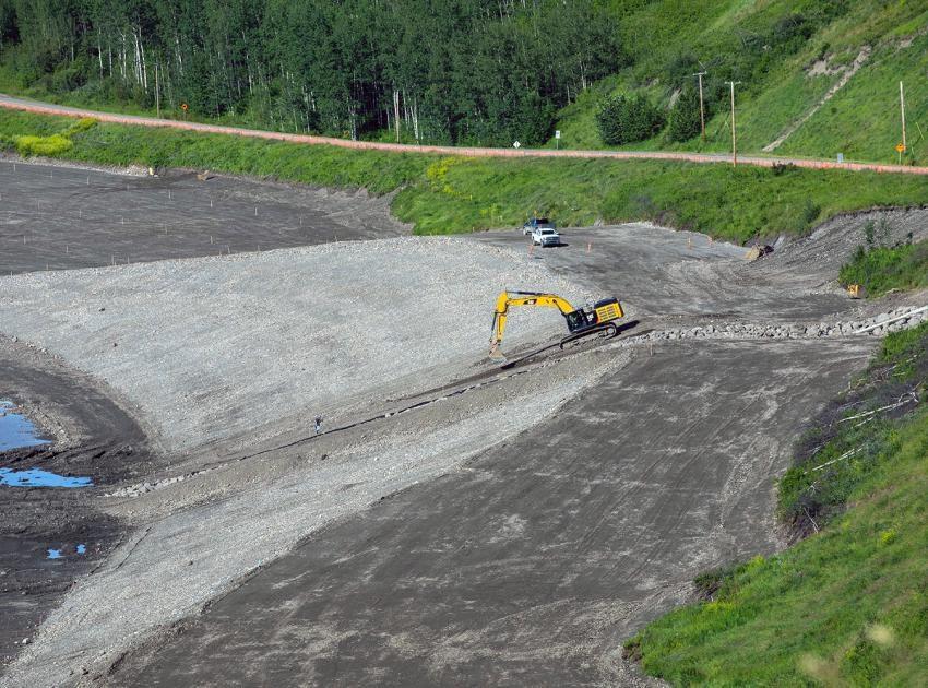 Roadway embankment construction upstream of Dry Creek, July 2020.
