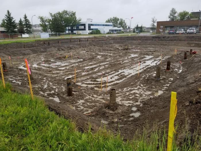 Foundation pile installation, July 2020.