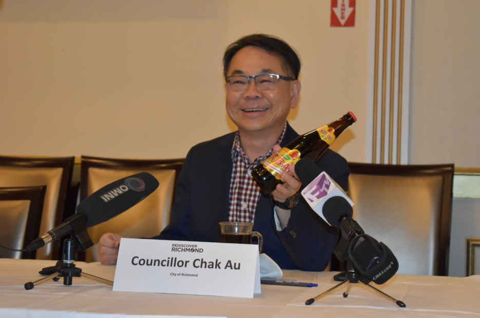 City of Richmond councillor Chak Au was showcasing an item he bought from Richmond's Russian grocery store.