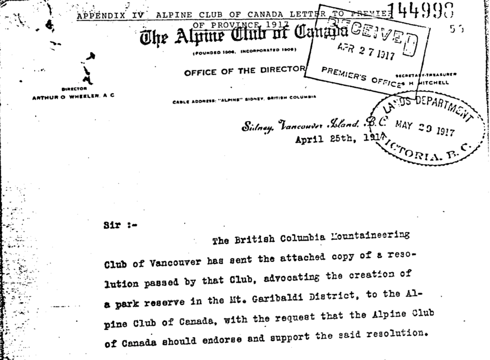 1917 Alpine Club letter Garibaldi Park Reserve