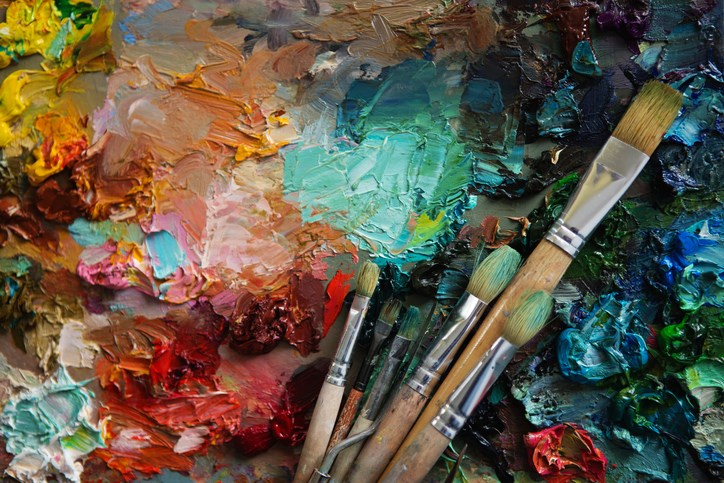 artist, palette, painting, stock photo
