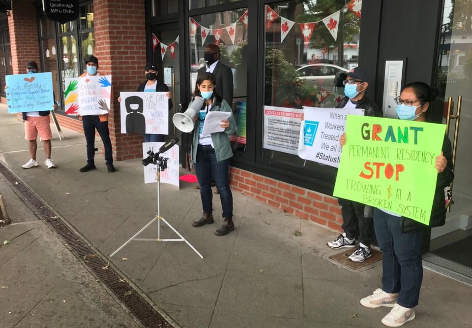 rally outside delta mp carla qualtrough's ladner office
