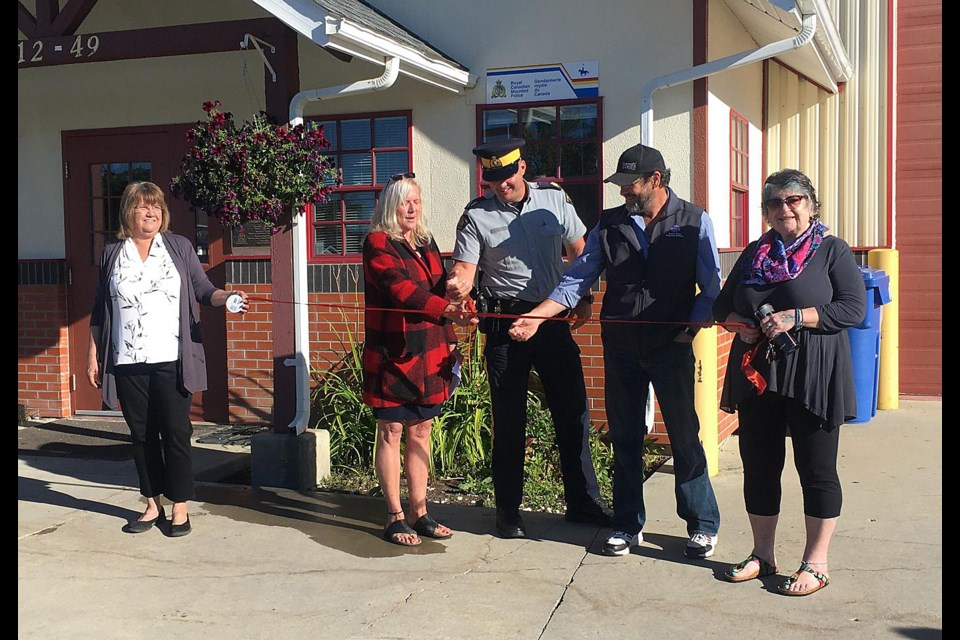 Pouce Coupe councillor Marlene Hebert, mayor Lorraine Michetti, Dawson Creek RCMP Staff Sgt. Damon Werrell, Area D director Leonard Hiebert, and Pouce councillor Donna White were all on hand this morning for a ribbon cutting celebrating the new Community Police Office in Pouce Coupe.