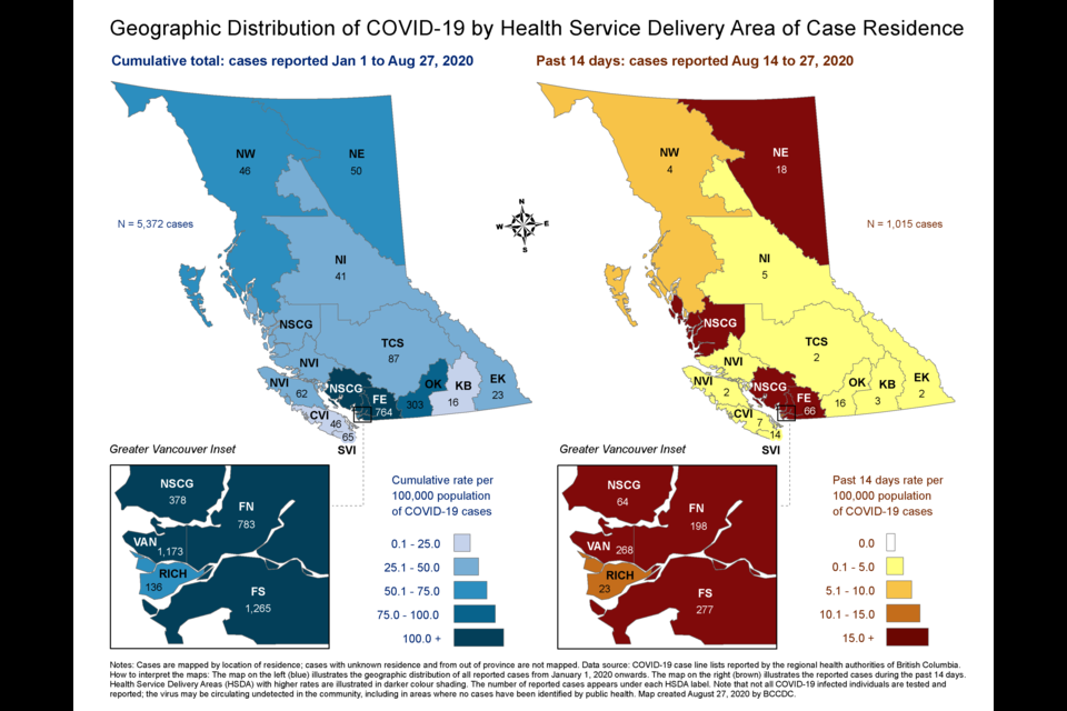 Geographic distribution of COVID-19 by Health Service Delivery Area of Case Residence, Aug. 14 to 27, 2020.