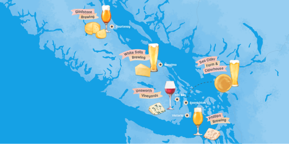 Vancouver Island leg of the 'cheese trail'
