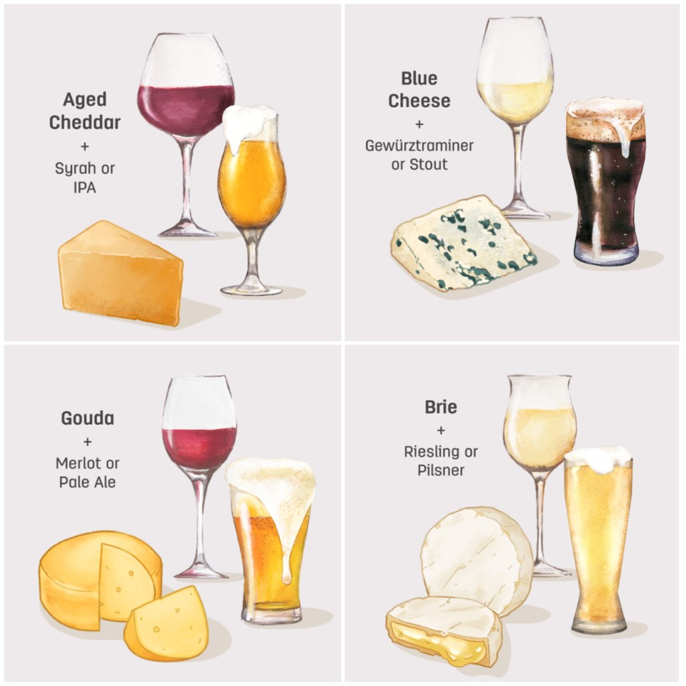 A beer, wine for every cheese.