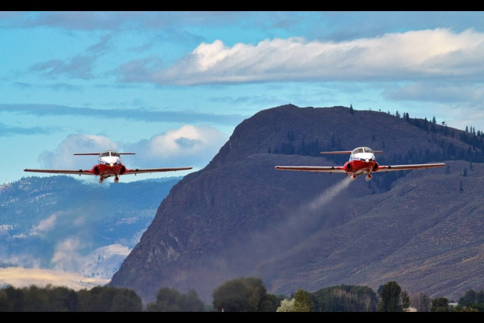 A pair of Canadian Forces Snowbirds CT-114 Tutor jets take off from Kamloops Airport on Sept. 1. It marked the first time the iconic red ad white jets have been airborne since the May 17 crash in Kamloops that claimed the life of Capt. Jennifer Casey and injured the pilot, Capt. Richard MacDougall.