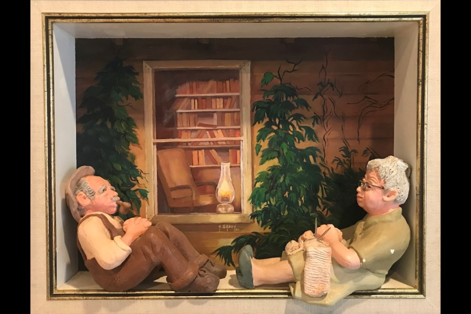 The Old Folks, sculptures and painting by Audrey Gaddy.