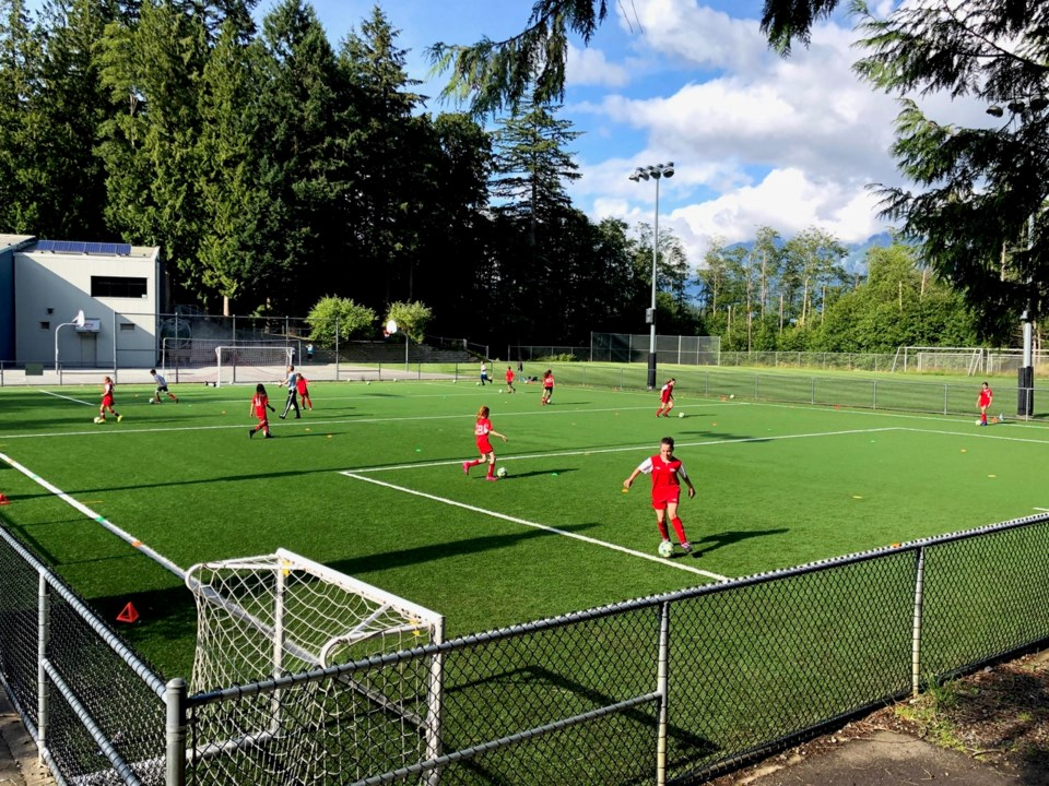 Young soccer players on the turf field