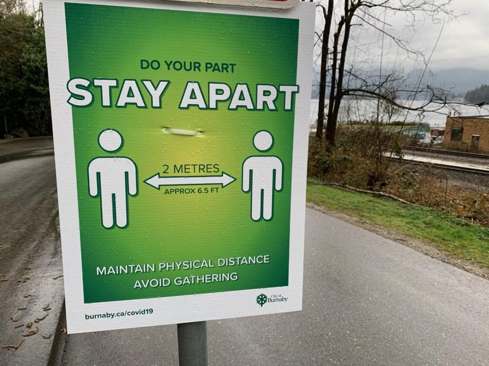 social distancing, park sign, Burnaby, Barnet
