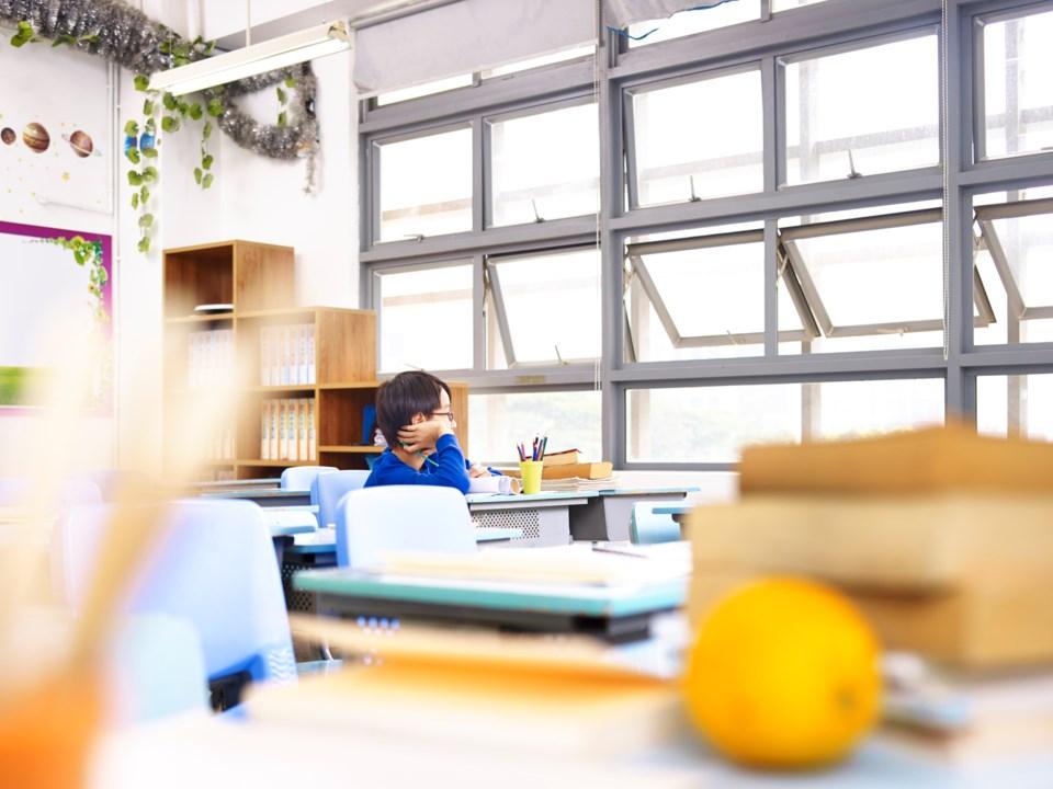 classroom, open windows, stock photo