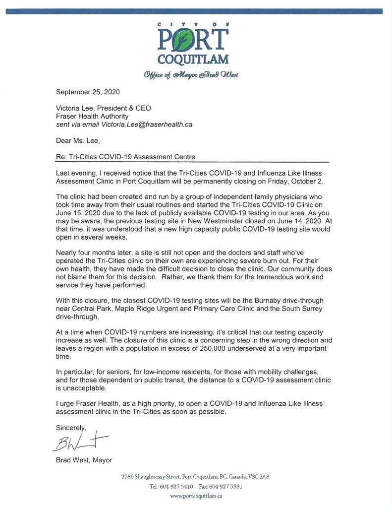 letter from Brad west to Fraser Health over clinic
