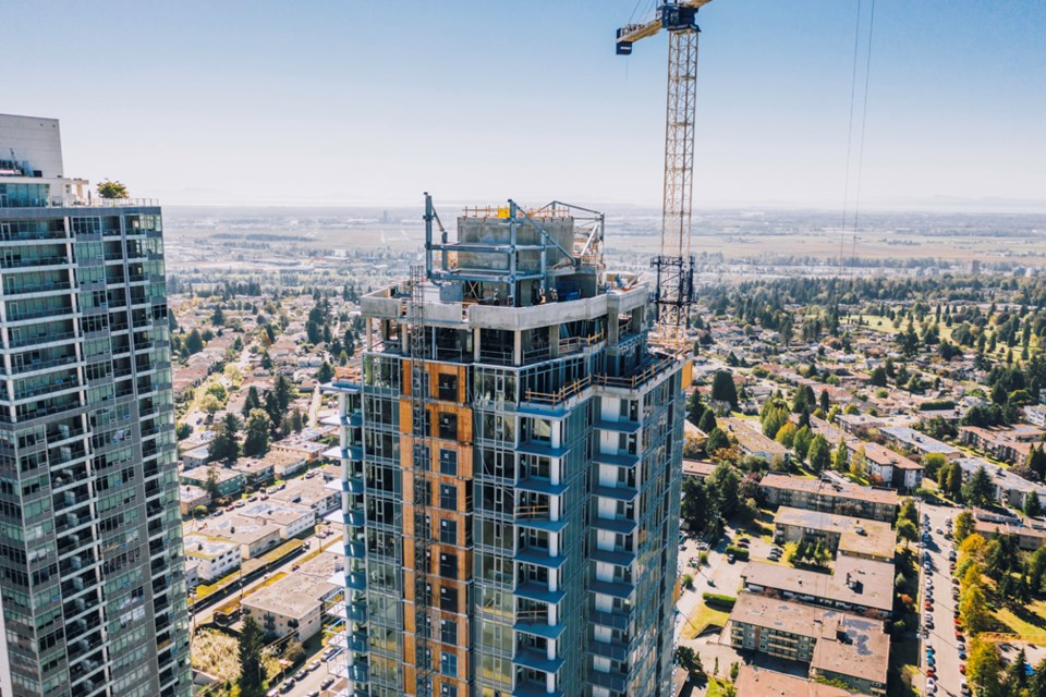 Sun Tower 1 in Burnaby is seen from a drone. Contributed